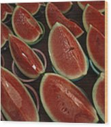 Watermelon Slices Sold At A Market Wood Print by Todd Gipstein