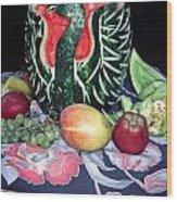 Watermelon Swan Wood Print by Sally Weigand