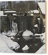 Waterwheel And Stream In Winter Wood Print
