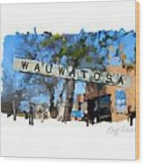 Wauwatosa Railroad Sign Wood Print