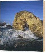 Wave Splashing Against Natural Arch Wood Print
