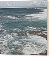 Waves Breaking On Shore  7918 Wood Print