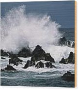 Waves Crash Against The Rocks In Great Wood Print