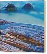 Waves Crashing On Rocky Shoreline Wood Print