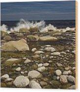 Waves Hitting Rocks, Anchor Brook Wood Print