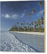 Waves Lapping Shore Of Beach With Palm Wood Print