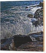 Waves Meet Jetty Wood Print