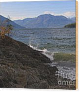 Waves On The Shore Wood Print