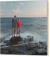 Waves Splash Children Wood Print