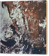 Weather Patterns Over Earth Wood Print