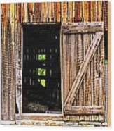 Weathered Barn Door Wood Print