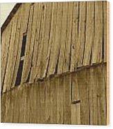 Weathered Barn I In Sepia Wood Print