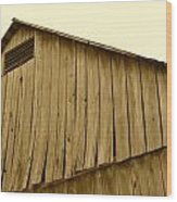 Weathered Barn II In Sepia Wood Print