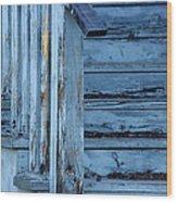 Weathered Blue Wood Print