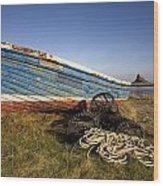 Weathered Fishing Boat On Shore, Holy Wood Print