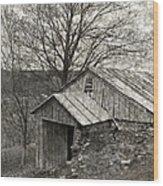 Weathered Hillside Barn Wood Print