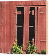 Weathered Red Barn Window Of New Jersey Wood Print