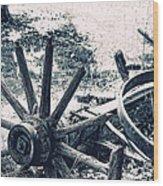 Weathered Wagon Wheel Broken Down Wood Print
