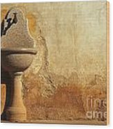 Weathered Water Faucet Wood Print