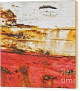Weathered With Red Stripe Wood Print by Silvia Ganora