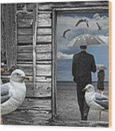 Weathering The Gulls Wood Print