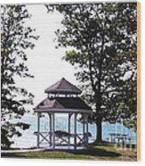 Wedding Gazebo By Lake Erie At Evangola State Park Wood Print