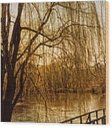 Weeping Willow And Bridge Wood Print