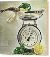 Weight Scale With Fish  Wood Print by Sandra Cunningham