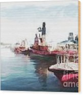 Wellington Harbour Tugs At Anchor Waterloo Quay Wood Print