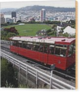 Tram Car Viewpoint - Wellington, New Zealand Wood Print