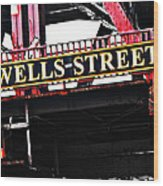 Wells Street Sign Wood Print