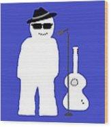 Welsh Snowman Musician Wood Print