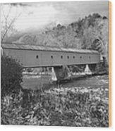 West Cornwall Connecticut Covered Bridge Black And White Wood Print
