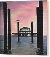 West Pier Silhouette Wood Print