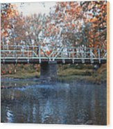West Valley Green Road Bridge Along The Wissahickon Creek Wood Print by Bill Cannon