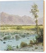 Western Landscape Wood Print by Albert Bierstadt