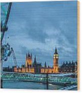 Westminster And The London Eye Wood Print