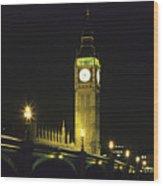Westminster Bridge And Big Ben At Night, London Wood Print