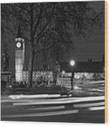 Westminster Night Traffic  Wood Print