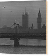 Westminster On A Foggy Day Wood Print