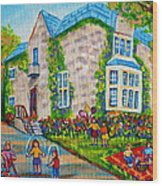 Westmount Birthday Party-montreal Urban Scene-little Girls Playing Wood Print