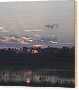 Wetland Sunset Wood Print