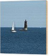 Whaleback Lighthouse Kittery Maine Wood Print