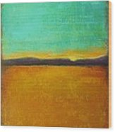 Wheat Field At Sunset Wood Print