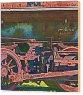 Wheels Of An Old Vintage Train Engine No.1026 Wood Print