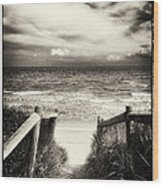 When I Was A Child - Sepia Wood Print