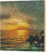 When The Sun Mets The Sea Wood Print