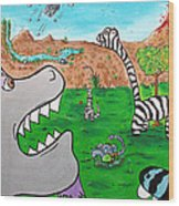 When Zebrasaurs Walked The Earth Wood Print