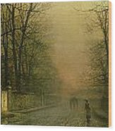 Where The Pale Moonbeams Linger  Wood Print by John Atkinson Grimshaw