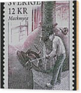 Whisky Postage Stamp Print Wood Print